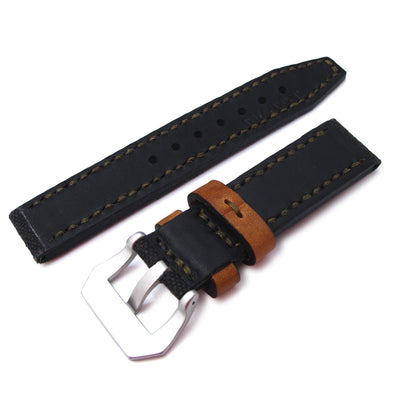 20mm MiLTAT Black Leather Washed Canvas Ammo Watch Strap in Military Green Stitches - Strapcode