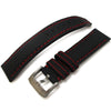 20mm to 23mm MiLTAT Black Kevlar Leather Watch Strap in Red Stitches - Strapcode