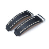 Revenge End Link - Replacement Watch Strap Tailor-made for Rolex, Matte Black Pull Up Leather, Beige St.