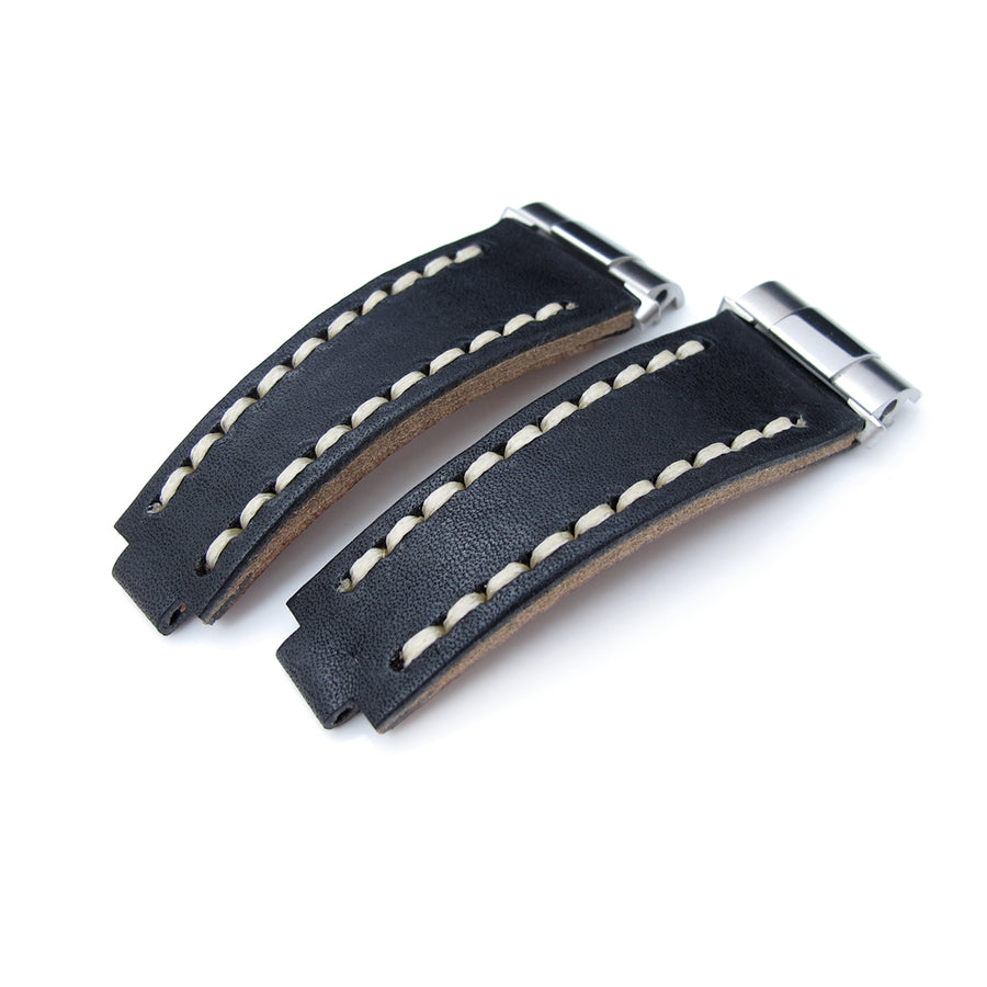 Revenge End Link - Replacement Watch Strap Tailor-made for RX, Matte Black Pull Up Leather, Beige St.