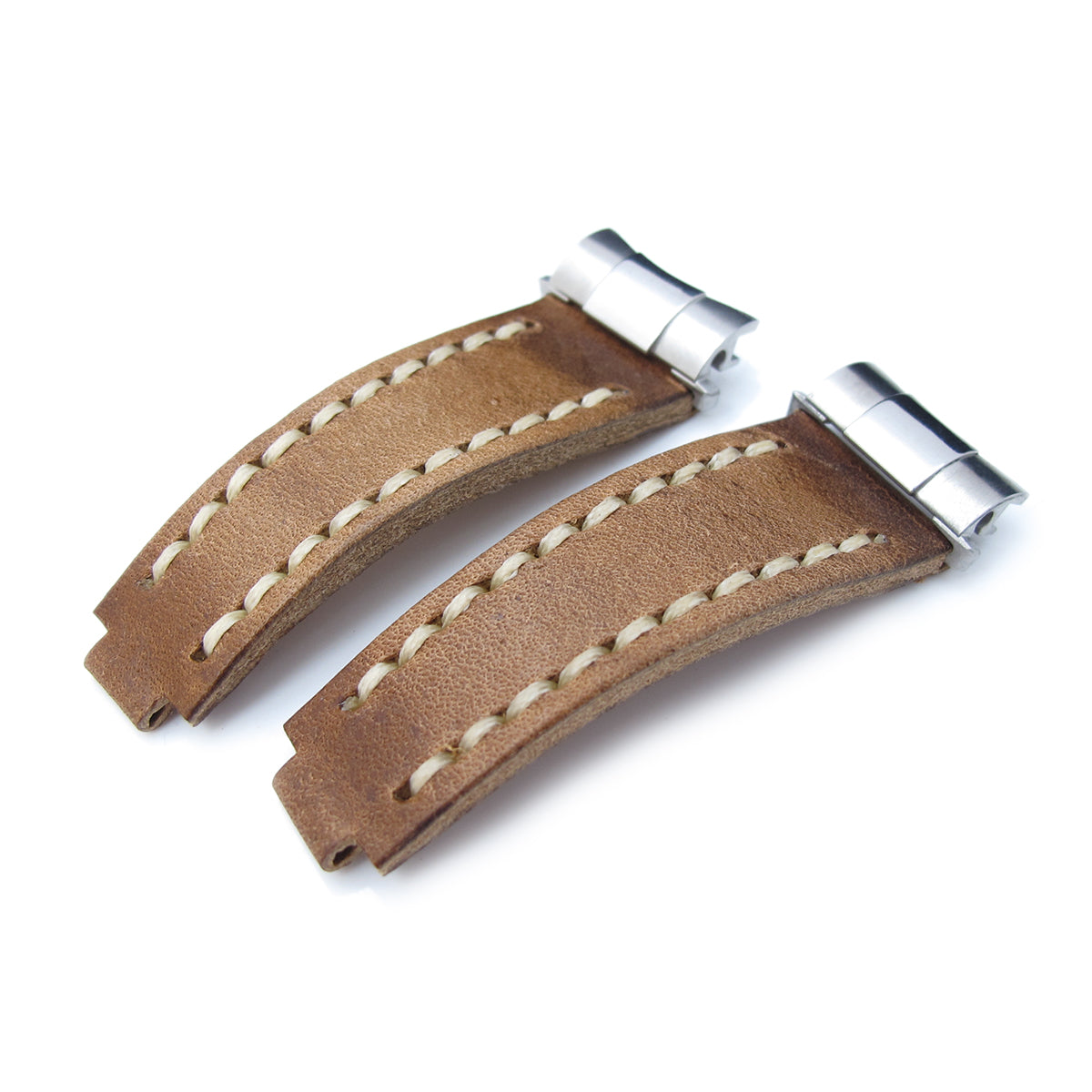 Revenge End Link Replacement Watch Strap Tailor-made for RX Matte Brown Pull Up Leather Beige St. Strapcode Watch Bands