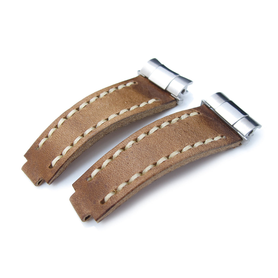 Revenge End Link - Replacement Watch Strap Tailor-made for Rolex, Matte Brown Pull Up Leather, Beige St.