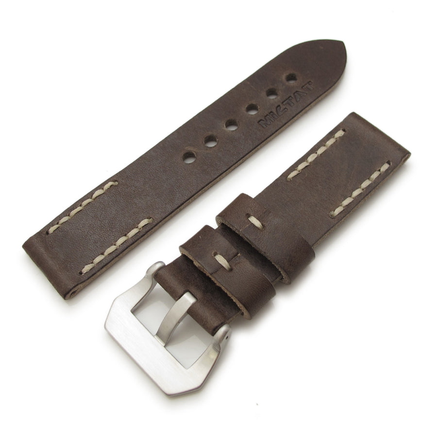 20mm, 22mm MiLTAT Pull Up Leather Russet Watch Strap, Beige Hand Stitches