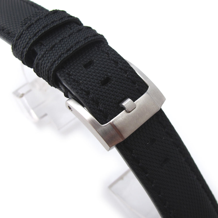 20mm to 23mm MiLTAT Black Kevlar Leather Watch Strap in Black Stitches