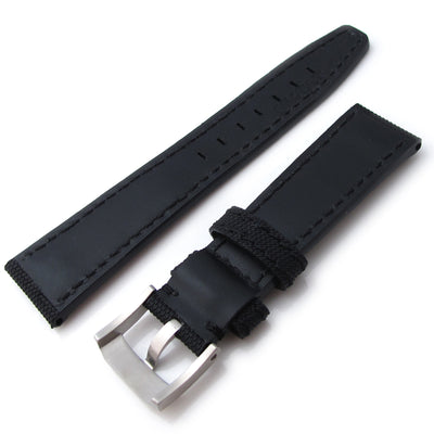 20mm to 23mm MiLTAT Black Kevlar Leather Watch Strap in Black Stitches - Strapcode