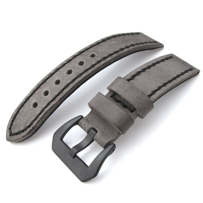 20mm, 21mm Soft Italian Leather Donkey Grey Watch Strap with Black Stitches, PVD - Strapcode
