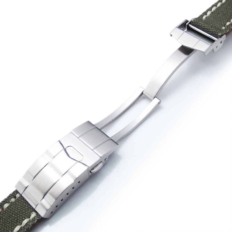 20mm or 21mm MiLTAT Military Green Canvas Submariner Clasp Watch Strap, Wax Hand Stitches - Strapcode