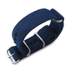 MiLTAT 20mm Canvas Zulu Navy Blue Military Double Thickness Watch Strap, Lockstitch Round Hole Detail