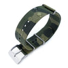 Rubber NATO 22mm G10 Waterproof Watch Band, Camouflage Green, Sandblasted Buckle
