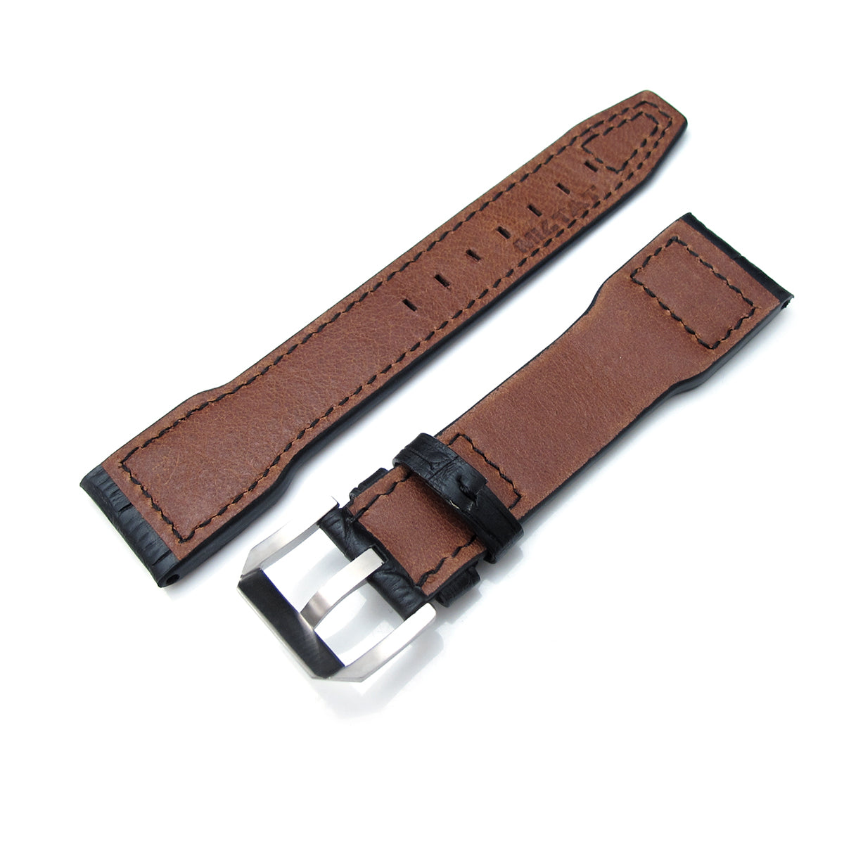 20mm 21mm 22mm IWC Big Pilot 5002 Type CrocoCalf Black Watch Strap Rivet Lug Semi Square Tail Strapcode Watch Bands