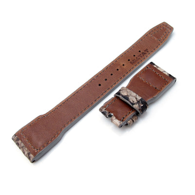 22mm MiLTAT Stone Beige Genuine Python IWC Big Pilot replacement Strap, Rivet Lug