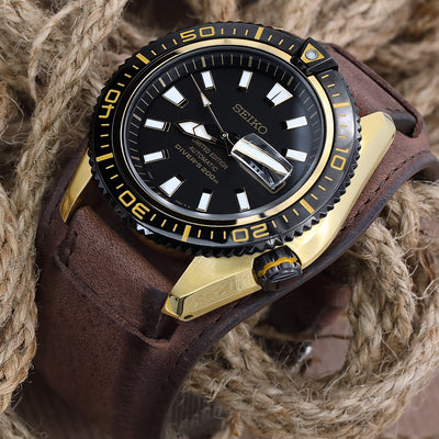 Seiko Superior Limited Edition Stargate II SRP510 Gold Tone Diver on BUNDS watch strap