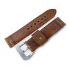 MiLTAT Zizz Collection 22mm Braided Calf Leather Watch Strap Tawny Brown Brown Stitches Strapcode Watch Bands