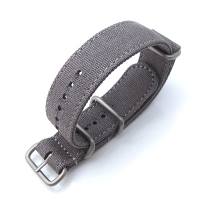 MiLTAT 20mm Washed Canvas Zulu Military Grey Double Thickness Watch Strap, Lockstitch Round Hole