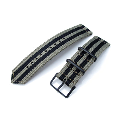 20mm, 22mm Two Piece WW2 G10 Nylon, Green & Black Stripes, PVD Buckle - Strapcode