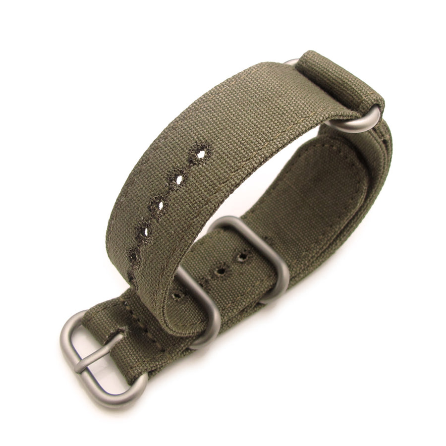 22mm MiLTAT Canvas G10 military watch strap, military color with lockstitch round hole, Green
