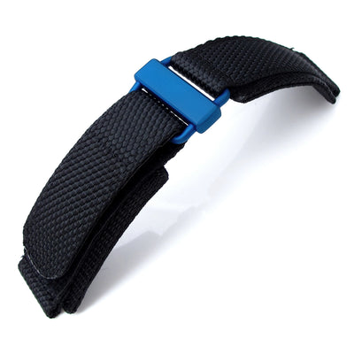 20mm 22mm MiLTAT Honeycomb Black Nylon Velcro Fastener Watch Strap IP Blue Buckle XL Strapcode Watch Bands