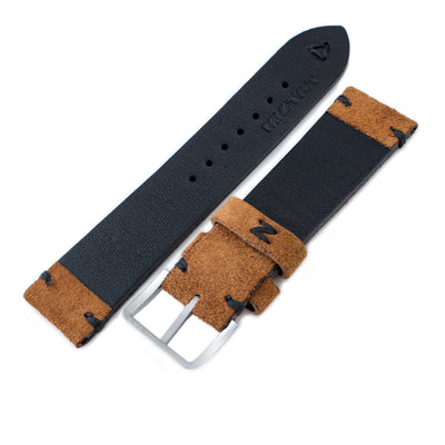 20mm, 21mm, 22mm MiLTAT Saddle Brown Genuine Nubuck Leather Watch Strap, Black Stitching, Sandblasted Buckle - Strapcode
