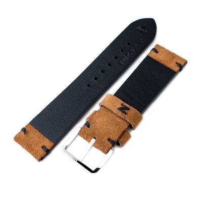 20mm, 21mm, 22mm MiLTAT Saddle Brown Genuine Nubuck Leather Watch Strap, Black Stitching, Polished Buckle - Strapcode