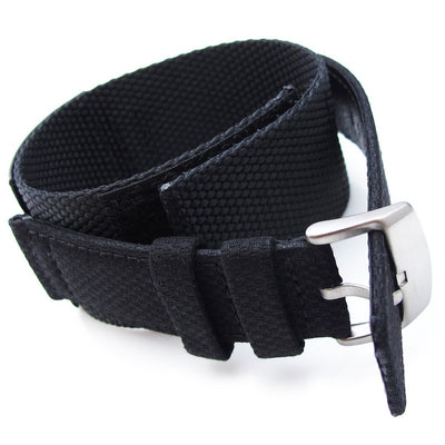 MiLTAT Double Layer Black Nylon Hook and Loop Fastener Watch Strap, Brushed (for IWC)