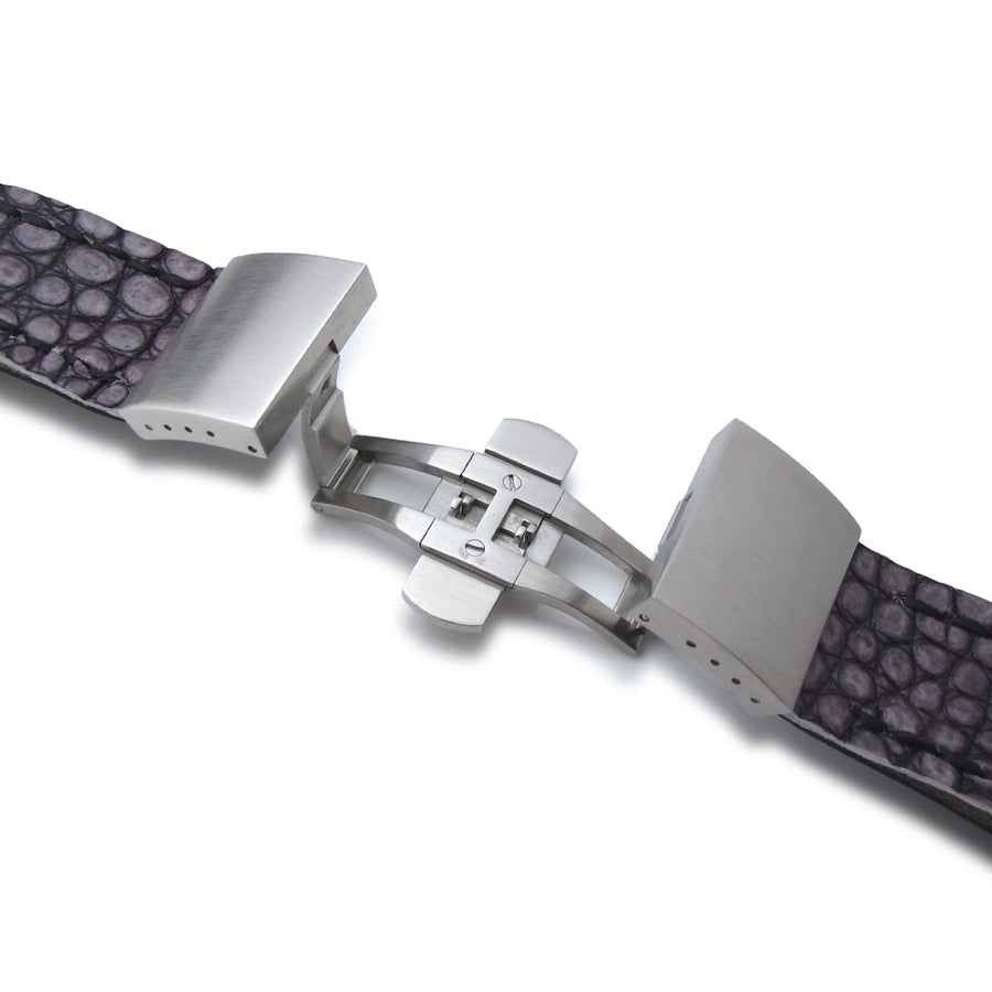 22mm MiLTAT Grey Siltstone Geniune Alligator Watch Band, Black Wax Hand Stitch, Brushed Dome Deployant Clasp