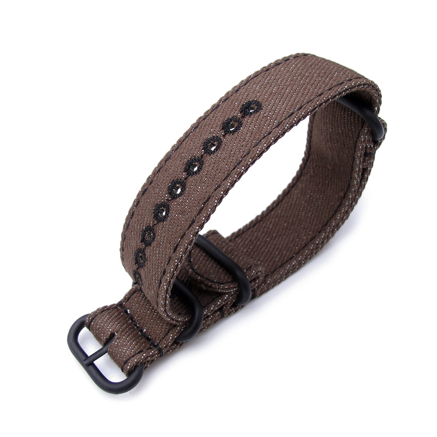 MiLTAT 20mm or 22mm Washed Canvas Zulu Dark Brown Double Thickness Watch Strap, Lockstitch Hole, Black Stitches, PVD