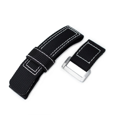 20mm, 22mm or 24mm MiLTAT Black Nylon Hook and Loop Fastener Watch Strap, White Stitching, Brushed Buckle - Strapcode