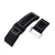 20mm, 22mm or 24mm MiLTAT Black Nylon Hook and Loop Fastener Watch Strap, White Stitching, Brushed Buckle