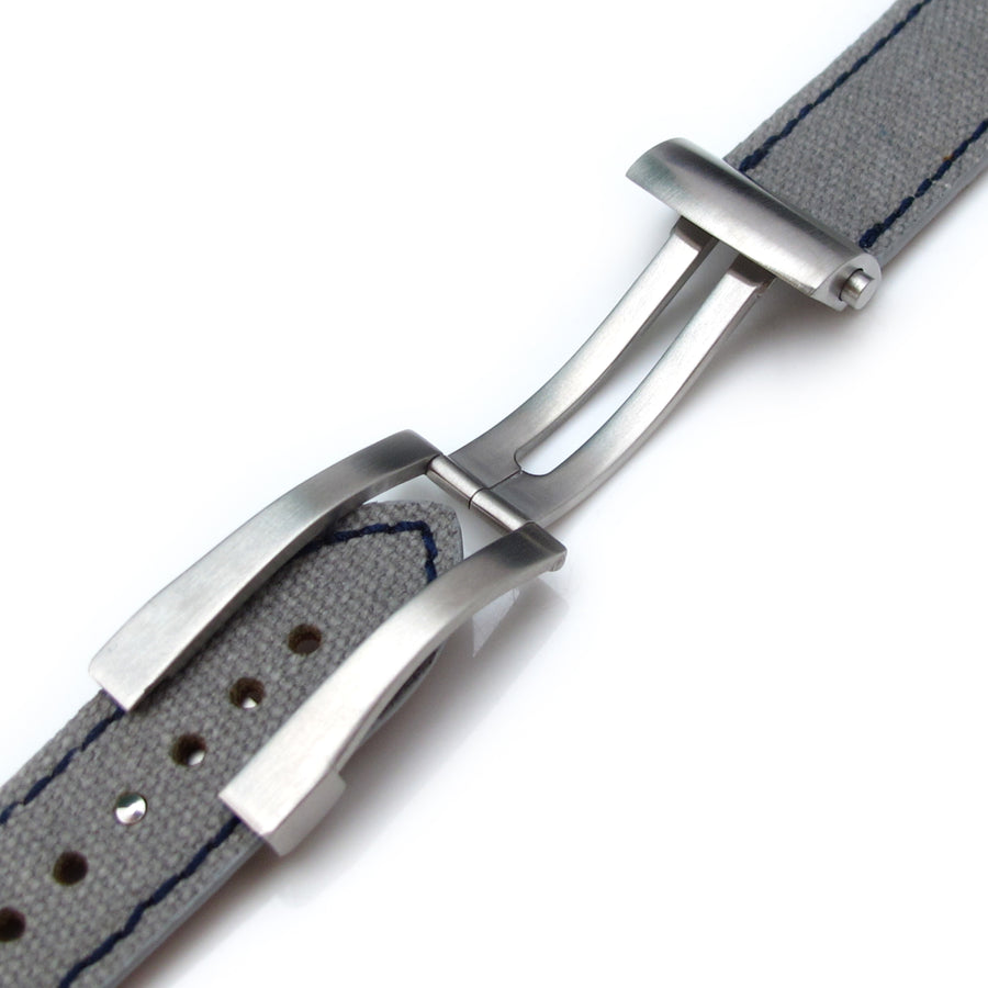 20mm, 21mm, 22mm MiLTAT Military Grey Washed Canvas Roller Deployant Watch Band, Navy Stitching - Strapcode