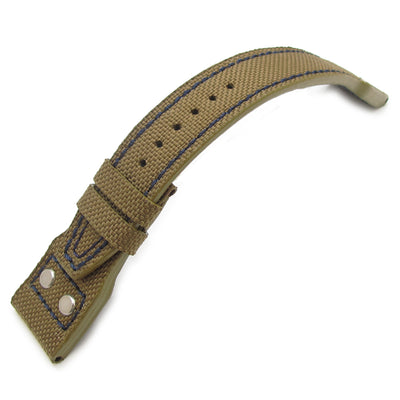 22mm MiLTAT Field Drab Cordura 1000D  IWC Big Pilot replacement Strap, Marine Blue Rivet Lug