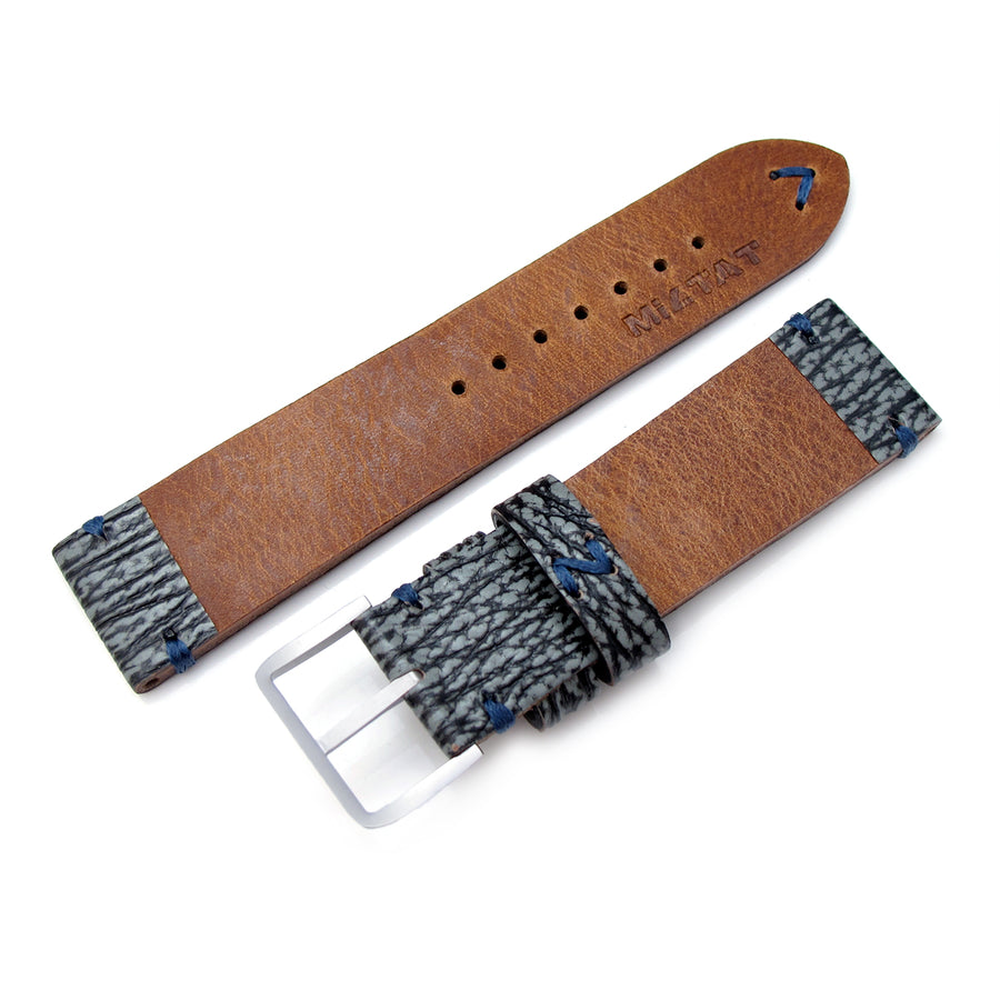 20mm, 22mm MiLTAT Genuine Shark Leather Watch Strap, Greyish Blue, Blue Stitching