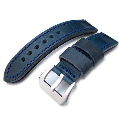 22mm MiLTAT Pull Up Aniline Navy Italian Leather Watch Strap, Blue Hand Stitch XL