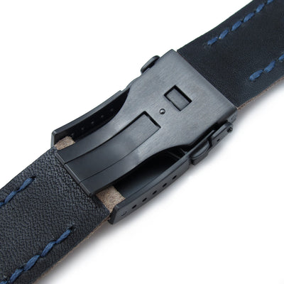 22mm MiLTAT Brown Nubuck Leather Watch Strap, Blue Wax Hand Stitch, PVD Black Button Chamfer Clasp