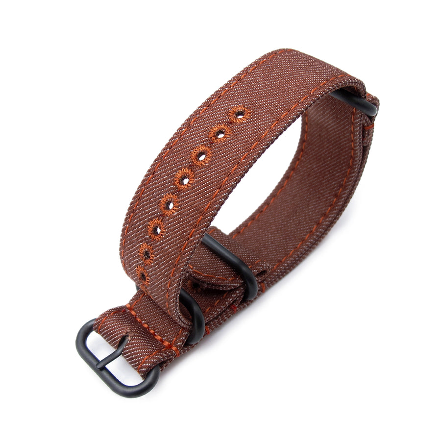MiLTAT 22mm Washed Canvas Zulu Rust Brown Double Thickness Watch Strap, Lockstitch Hole, Brown Stitches, PVD