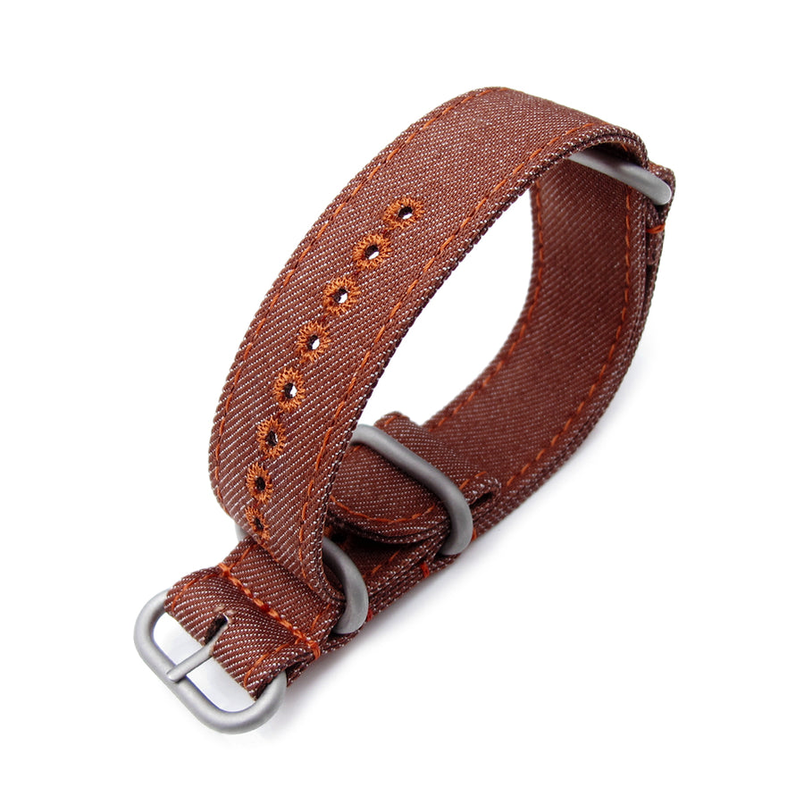 MiLTAT 22mm Washed Canvas Zulu Rust Brown Double Thickness Watch Strap, Lockstitch Hole, Brown Stitches