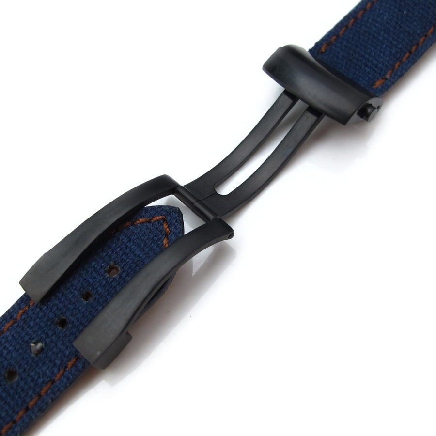 20mm, 21mm, 22mm MiLTAT Navy Blue Washed Canvas Roller Deployant Watch Band, Golden Brown Stitching, PVD