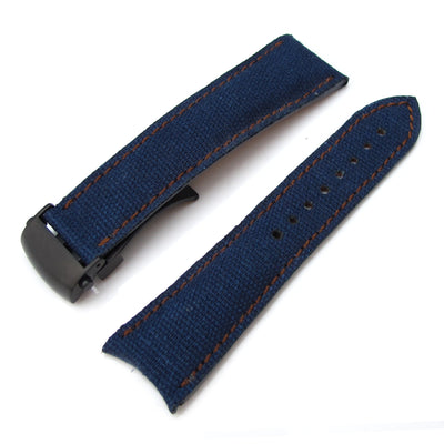 20mm, 21mm, 22mm MiLTAT Navy Blue Washed Canvas Roller Deployant Watch Band, Golden Brown Stitching, PVD - Strapcode