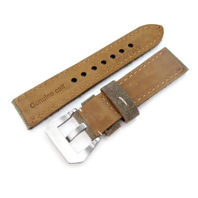 22mm MiLTAT Military Green Nubuck Leather Watch Band, Beige Stitching - Strapcode
