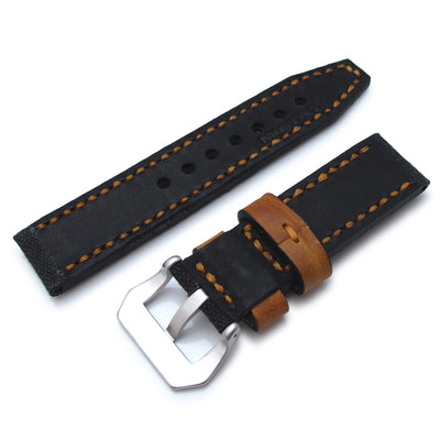 22mm MiLTAT Black Leather Washed Canvas Ammo Watch Strap in Golden Brown Stitches - Strapcode