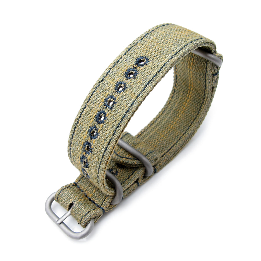 MiLTAT 22mm Washed Canvas Zulu Khaki Double Thickness Watch Strap, Lockstitch Hole, Blue Stitches