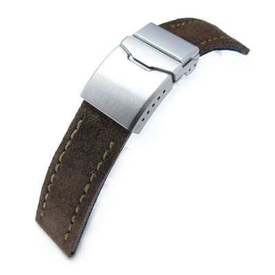 22mm MiLTAT Dark Brown Nubuck Leather Watch Strap, Green Wax Hand Stitch, Brushed Button Chamfer Clasp - Strapcode