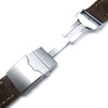 22mm MiLTAT Dark Brown Nubuck Leather Watch Strap, Green Wax Hand Stitch, Brushed Button Chamfer Clasp