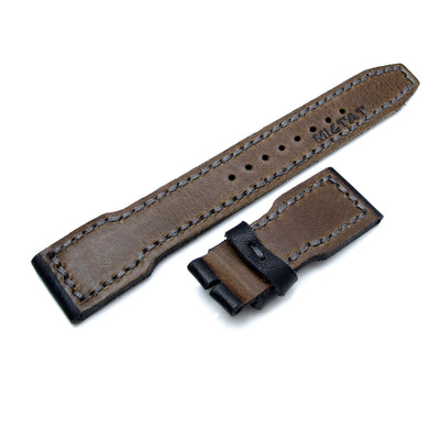 22mm MiLTAT Pull Up Leather Black IWC Big Pilot replacement Strap, Grey Wax Hand Stitching