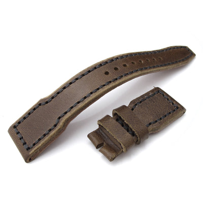 22mm MiLTAT Pull Up Leather Chestnut Brown IWC Big Pilot replacement Strap, Charcoal Grey Wax Hand Stitching