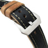 22mm MiLTAT Antipode Watch Strap Matte Black CrocoCalf in Grey Hand Stitches Strapcode Watch Bands