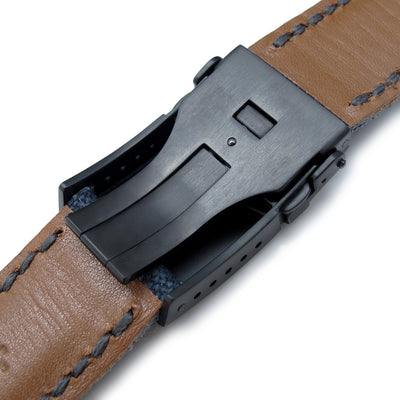 22mm or 24mm MiLTAT Navy Blue Washed Canvas Watch Band with Dark Grey Wax Stitching, PVD Black Button Chamfer Clasp