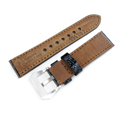 22mm MiLTAT Glossy Genuine Carbon Fiber Watch Band, Orange Stitching, XL