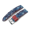 22mm MiLTAT Zizz Collection Distressed Denim Watch Strap Red Wax Hand Stitching - Strapcode