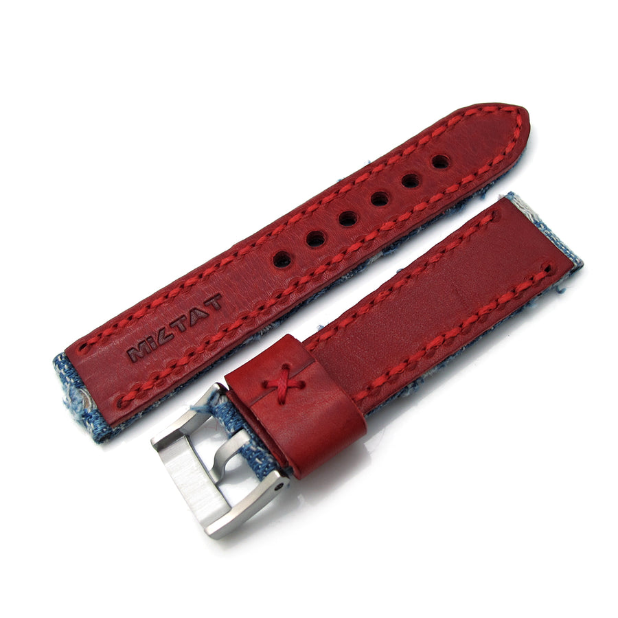 22mm MiLTAT Zizz Collection Distressed Denim Watch Strap Red Wax Hand Stitching