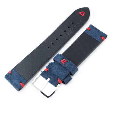 20mm, 21mm, 22mm MiLTAT Navy Blue Genuine Nubuck Leather Watch Strap, Red Stitching, Polished Buckle - Strapcode